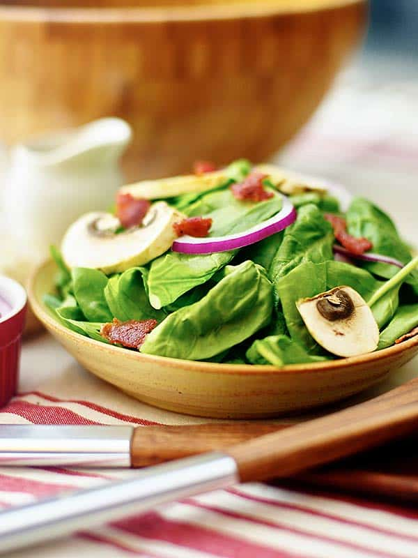 plate of spinach salad