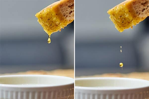 two pictures of olive oil dripping off piece of bread