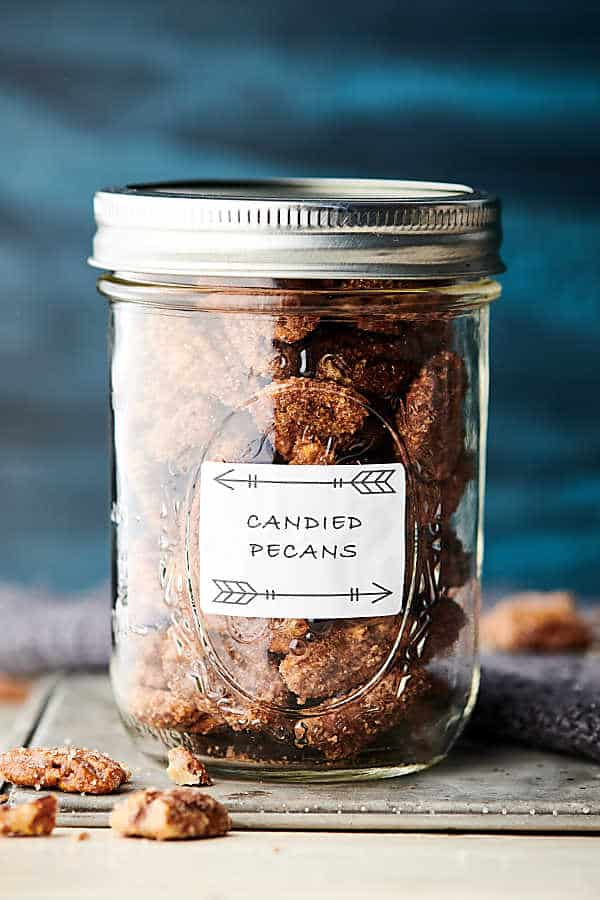 candied pecans in a mason jar