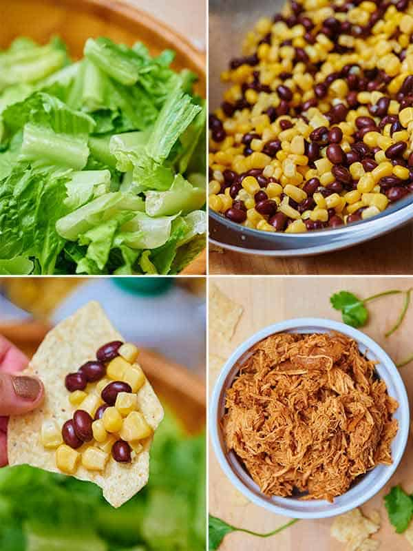 four pictures: lettuce, beans and corn, chip, and chicken