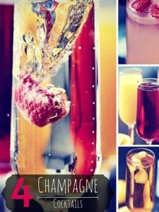 Happy New Year! Here are four champagne cocktails to celebrate: Raspberry Royale, Mimosa, Poinsettia, and the Classic Champagne Cocktail! All super easy, super delicious, and perfect to serve at your NYE party! showmetheyummy.com #newyearseve #nye #cocktails #champagne