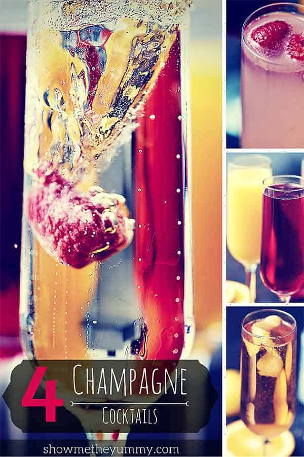 Graphic with four champagne cocktails