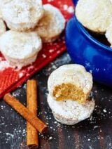 These eggnog donut muffins will be your best friend, greeting you cheerfully every morning and they go perfectly with that steaming hot cup of coffee. They are so tender, moist, and the eggnog flavor really comes through. The melted butter and powdered sugar really take these to the next level! showmetheyummy.com #donut #doughnut #muffin #powderedsugar #eggnog #breakfast #holiday #christmas