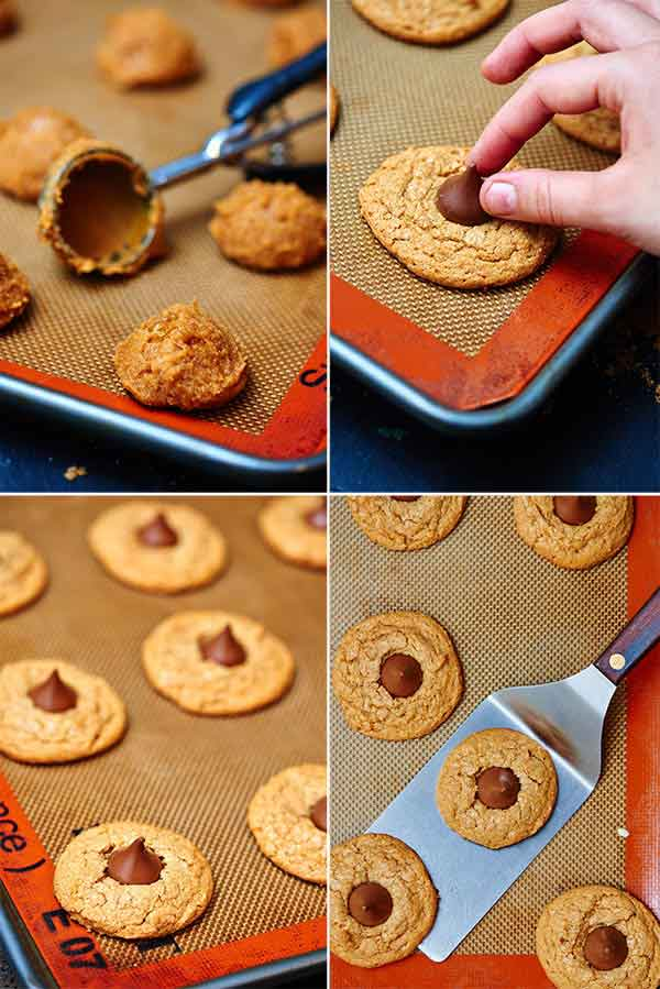 four pictures of cookies being baked