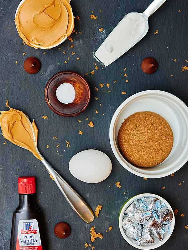 peanut butter blossom ingredients above