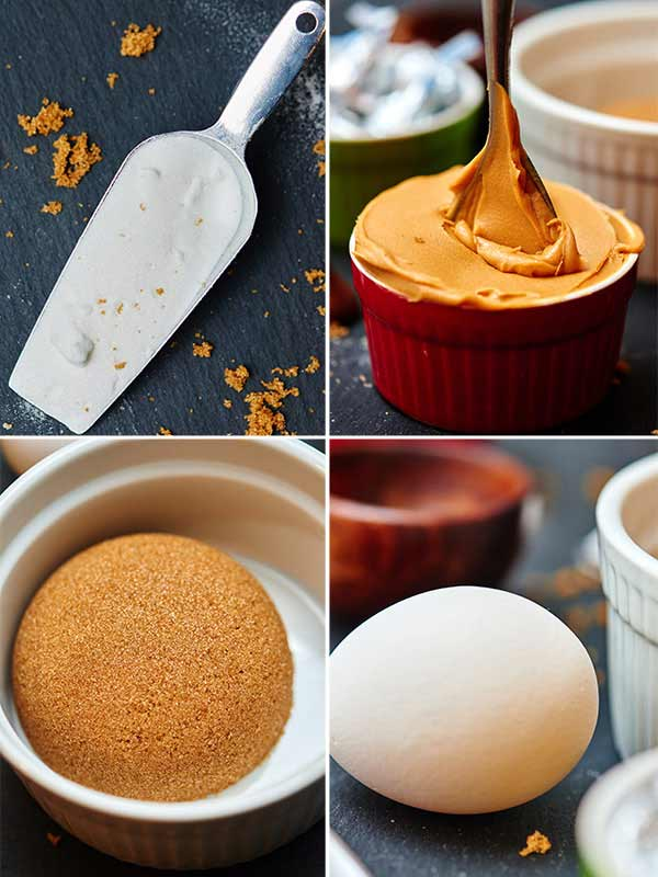 four pictures of cookie ingredients