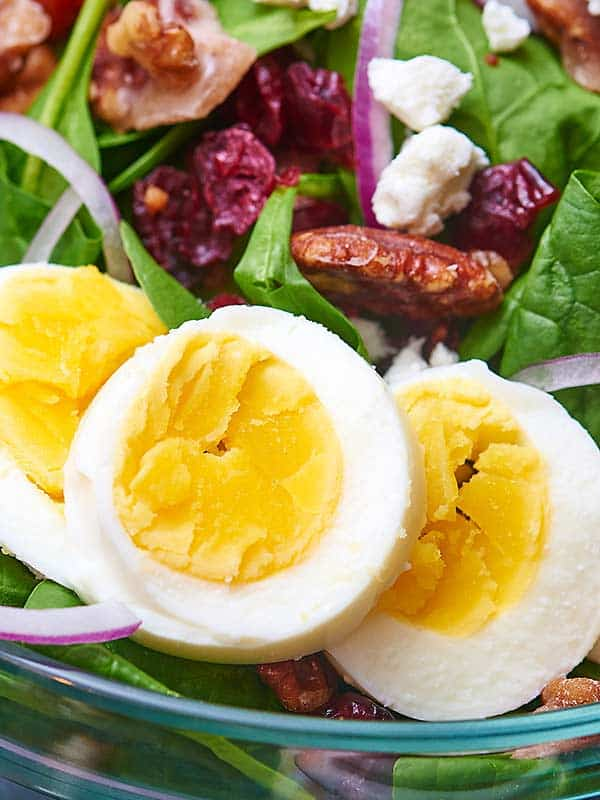 closeup of salad with eggs
