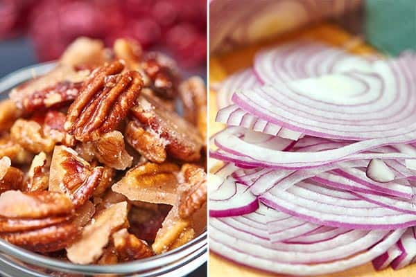 pecans and red onion