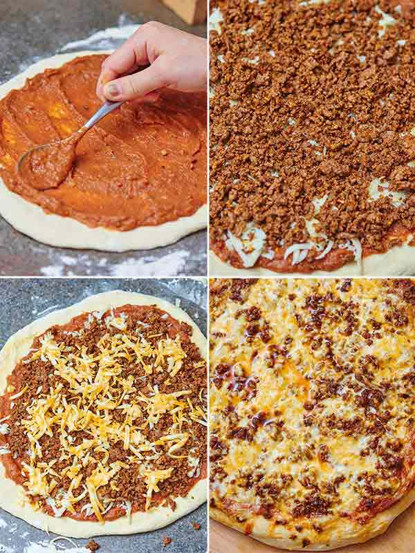 Taco Pizza. That's right! A homemade pizza dough topped with all your favorite taco toppings…complete with beans, seasoned ground beef, two types of cheese, shredded lettuce and taco styled doritos! What could be better than pizza topped with doritos?! showmetheyummy.com #taco #pizza #tacopizza #pizzadough #homemade #easyrecipe