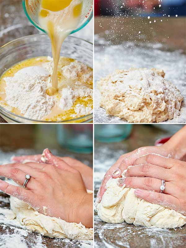 Pizza dough process shots