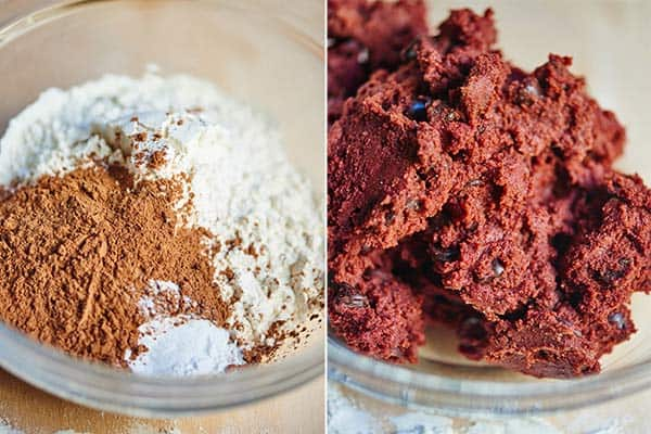 two pictures: red velvet cookie dough being made