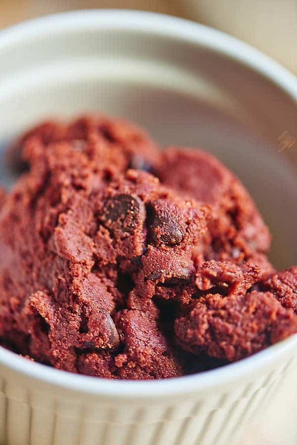 bowl of red velvet cookie dough