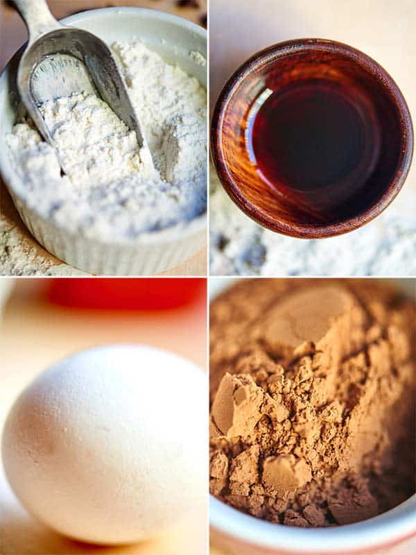 four pictures: cookie ingredients