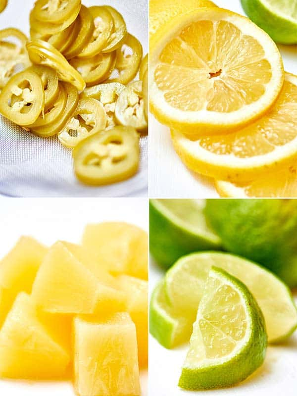 Four parts: jalapeno slices, lemon slices, pineapple chunks, and lime slices