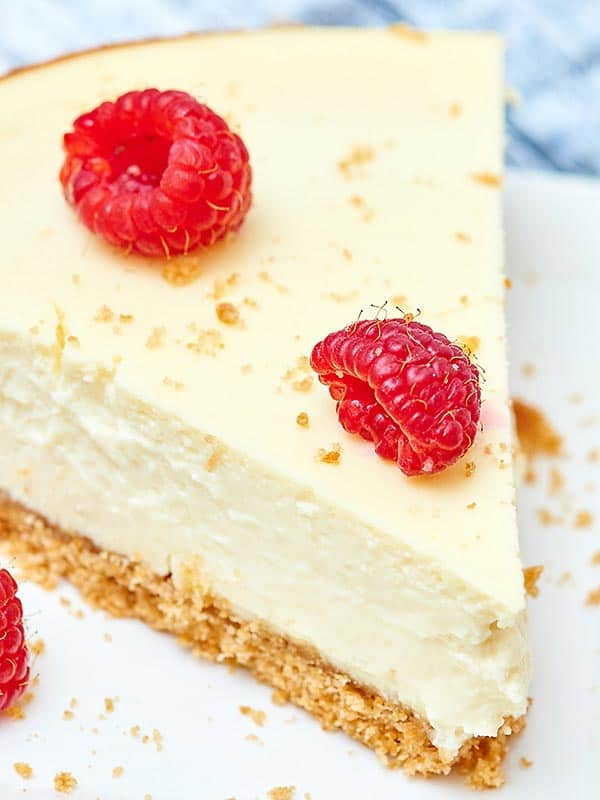 closeup of slice of cheesecake