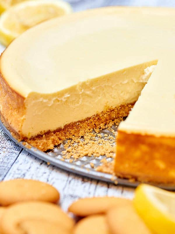 This light greek yogurt cream cheese cheesecake has decadence written ...