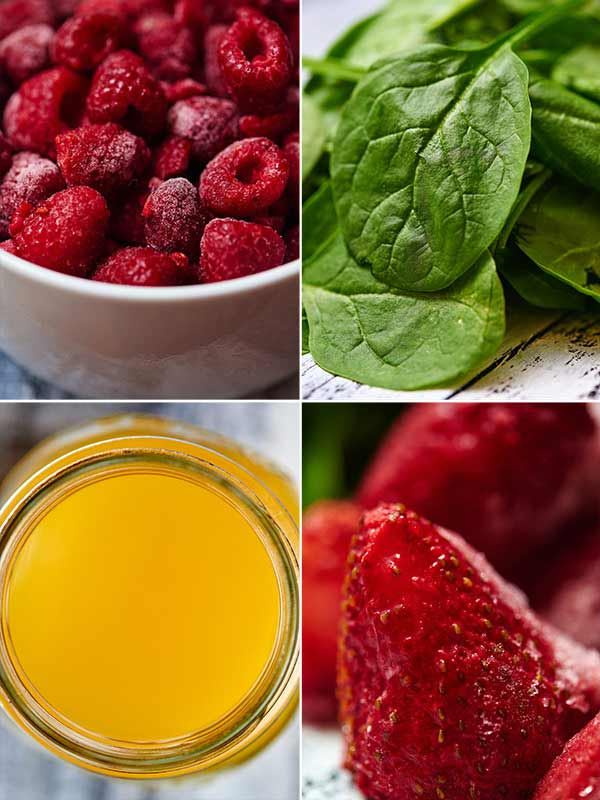 Make this for breakfast at home, or on the go, or make this for your afternoon snack! This no banana berry green smoothie is sweet from the berries, creamy from the greek yogurt, and I love the tang and acidity from the orange juice. I pinky swear you can't taste the spinach! It's also less than 250 calories! showmetheyummy.com #healthy #smoothie #spinach #greensmoothie #berries #vegetarian #breakfast