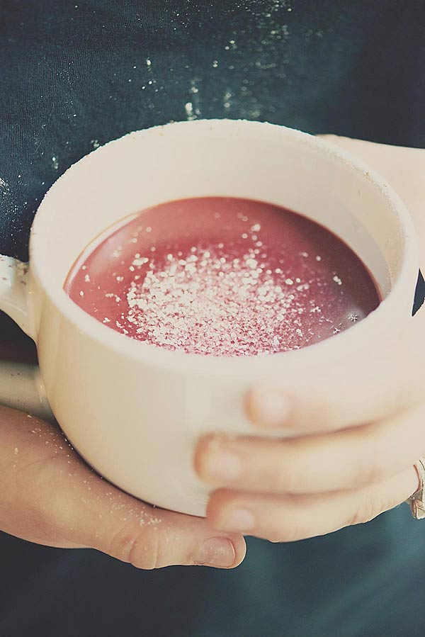 mug of red velvet hot chocolate held