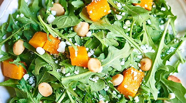 This roasted squash arugula salad with lemon vinaigrette makes for a really nice side salad or even a vegetarian meal! I love the cold, crunchy peppery arugula topped with warm, soft butternut squash. The macadamia nuts add a really nice crunch and the feta...I mean...do I really need to convince you why you should use feta and I love the acid and slight bite from the lemon vinaigrette. showmetheyummy.com #salad #healthy #vegetarian #vegan #glutenfree