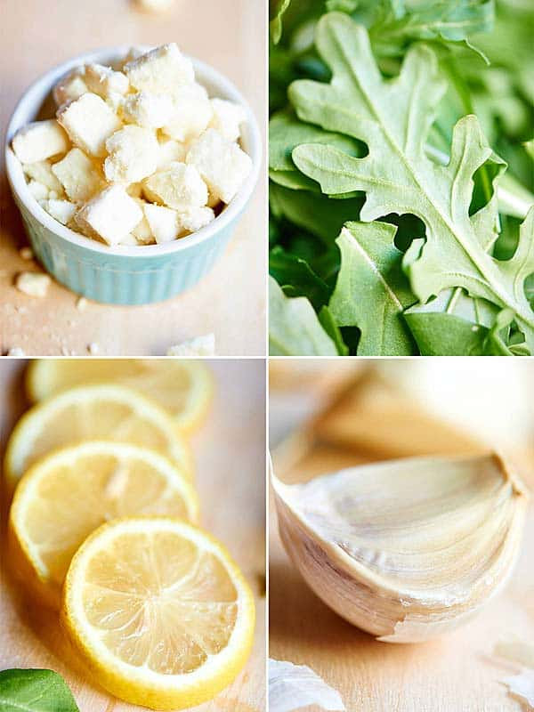 four pictures: feta cheese, arugula, lemon slices, garlic clove