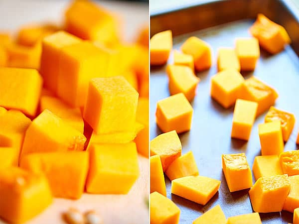 two pictures: chunks of squash being roasted