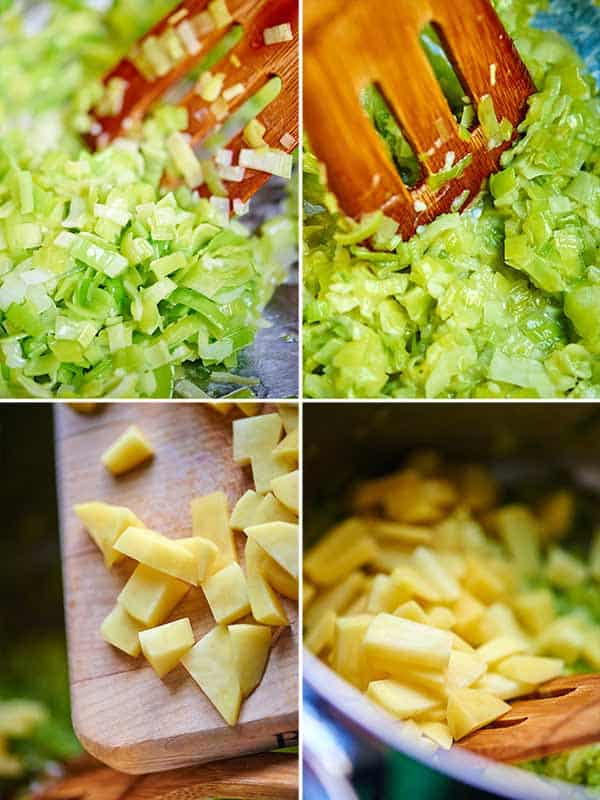 four in process shots of potatoes and leeks being cooked