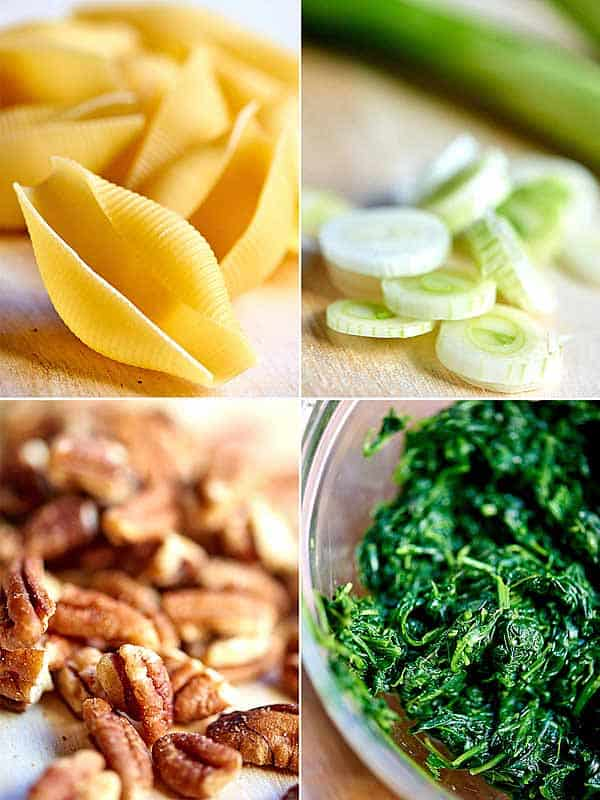 four pictures: shells, onion, pecans, spinach
