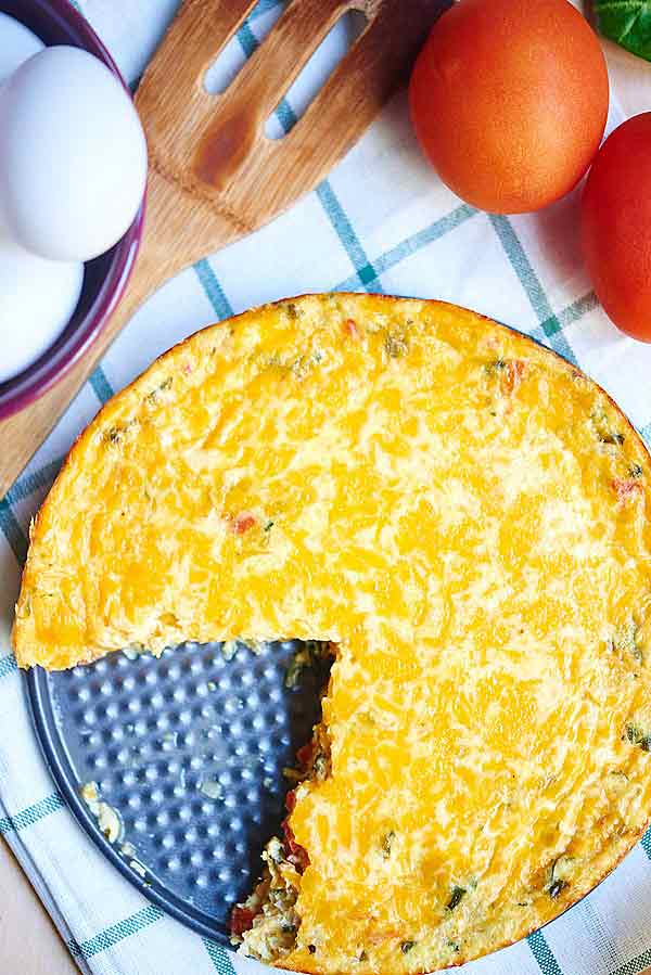 Quiche with slice out above