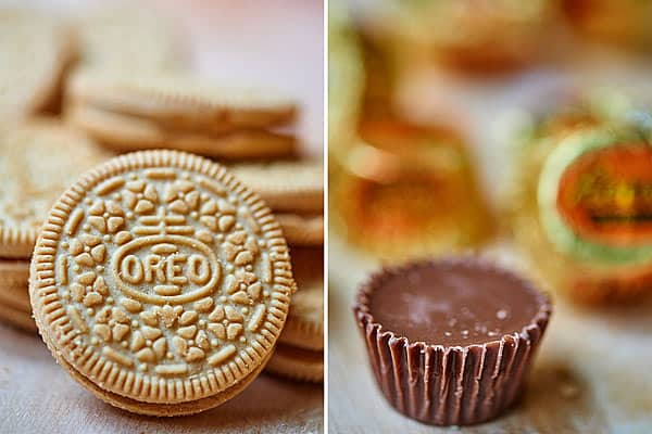 two pictures: golden oreo and peanut butter cup