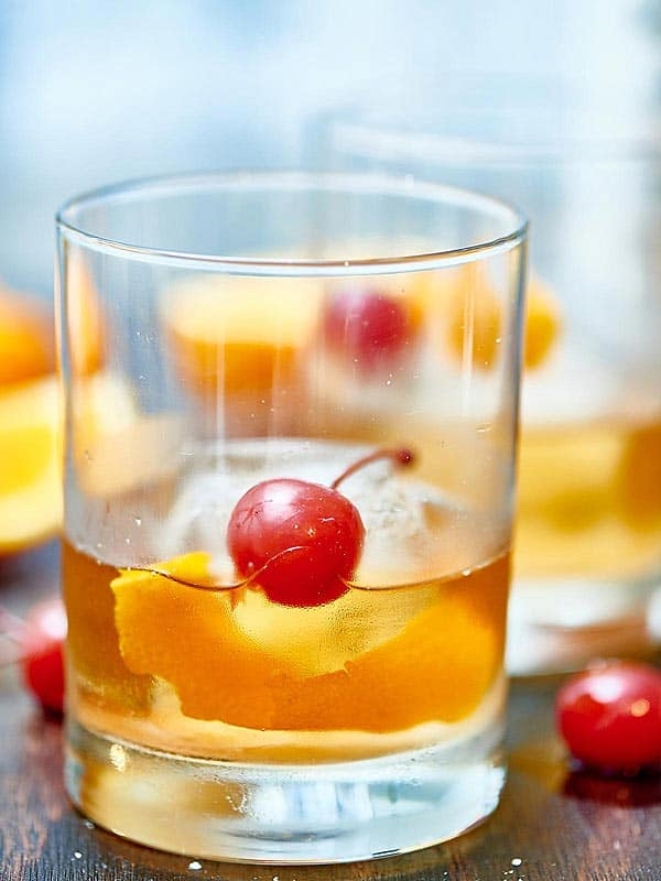 old fashioned cocktail in short glass
