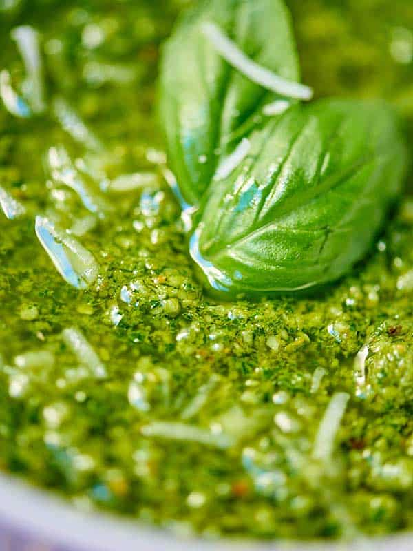 closeup of pesto