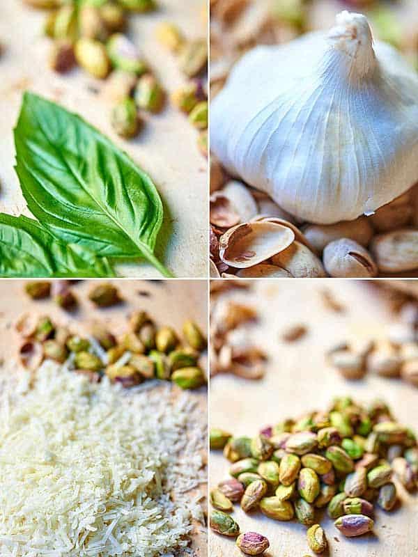 four pictures: basil, garlic, paremsan, pistachios