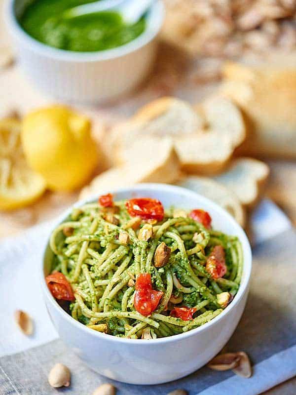 bowl of noodles with pistachio pesto
