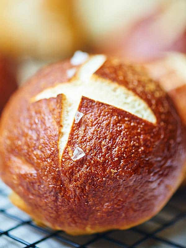 These soft pretzel rolls are great on their own...chewy, buttery ...