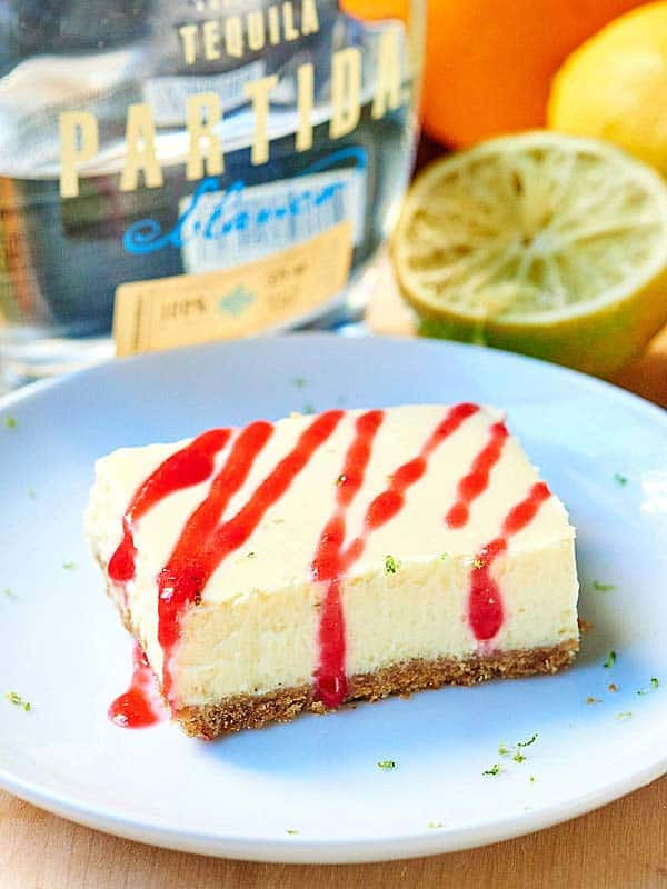 tequila lime cheesecake bar on plate