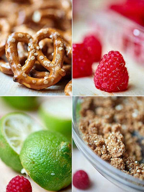 four pictures: pretzels, raspberry, lime, crust in bowl