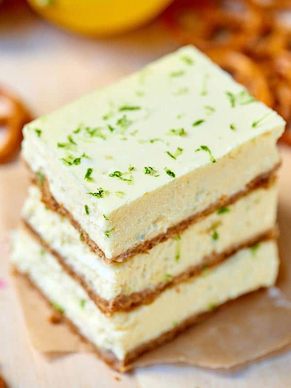 3 cheesecake bars stacked