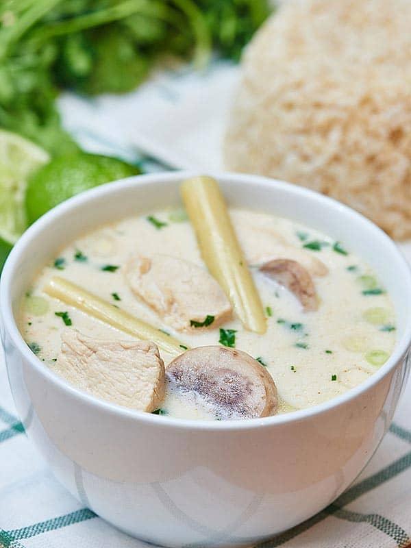 Bowl of tom kha gai soup