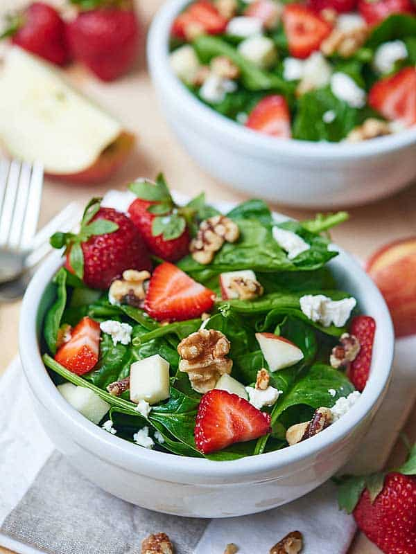 Honey goat cheese strawberry spinach salad with champagne vinaigrette ...