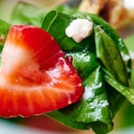 Honey goat cheese strawberry spinach salad with champagne vinaigrette. A simple and delicious salad that's quick to put together, but has flavors that will definitely impress! showmetheyummy.com #salad #goatcheese #strawberry #spinach #vegetarian #glutenfree #healthy #eattherainbow