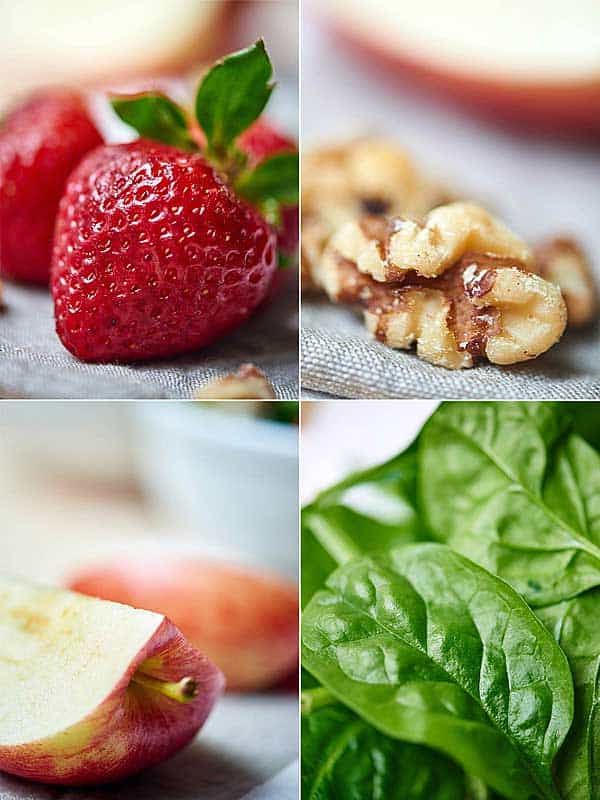 four pictures: strawberry, walnut, apple, spinach