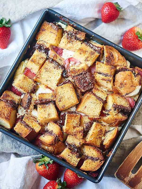 baking dish of french toast casserole above