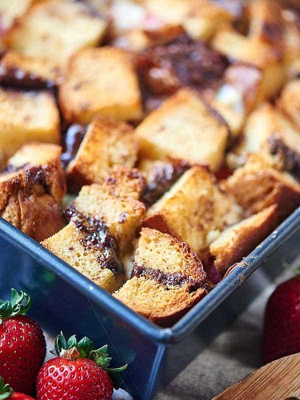 baguette chunks in baking dish