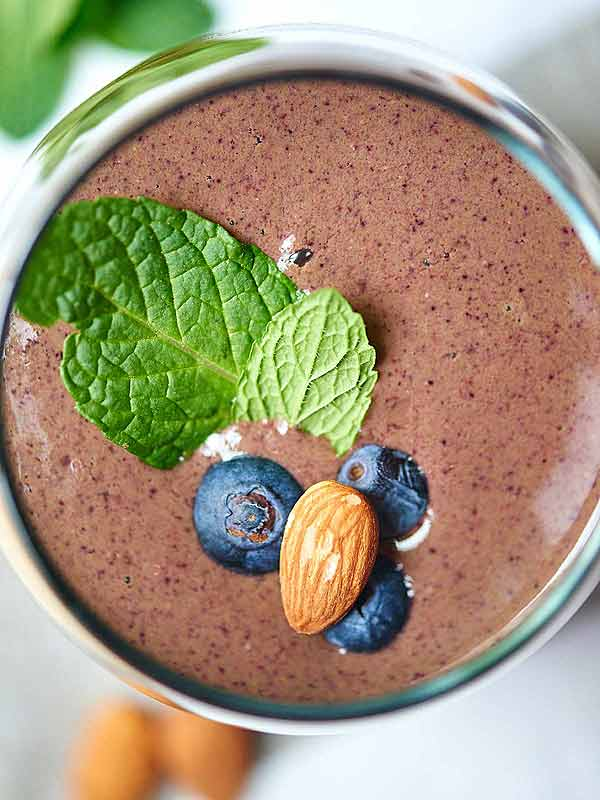 Chocolate berry green protein smoothie above
