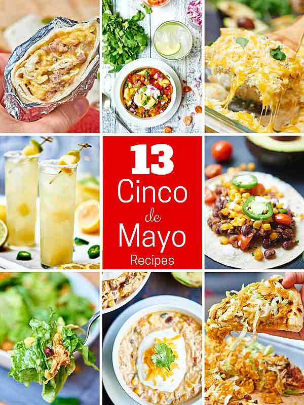 Happy (almost) Cinco de Mayo! Today, I've gathered my favorite Mexican inspired recipes starting with breakfast and ending with dessert! Don't forget the margaritas! showmetheyummy.com #cincodemayo #mexican #mexicanfood #breakfast #margaritas #vegetarian #vegan #glutenfree #dessert