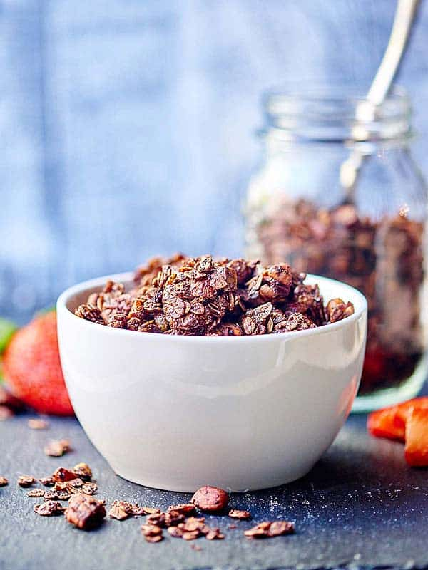 bowl of chocolate granola side