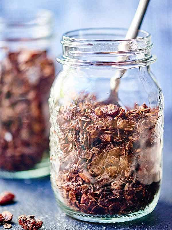 jar of double chocolate chip granola