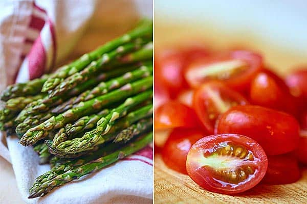 two pictures: asparagus and tomato