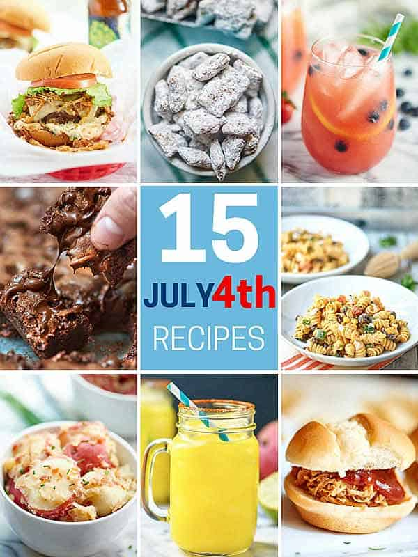 The Best 4th of July Recipes! Side dishes like potato and pasta salad, main dishes like gooey, cheesy stuffed burgers, desserts like my ultra fudge-y brownies, and drinks like my mango habanero margarita! Happy 4th! showmetheyummy.com #4thofjuly #fourthofjuly #sidedishes #dinner #dessert #drinks #cocktails #party #entertaining #pasta #salad #potato #brownies #margarita