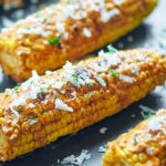 mexican grilled corn on baking sheet